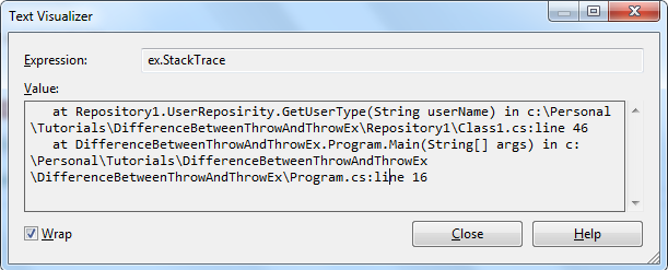 Original exception StackStrace doesn't carried with throw ex statement