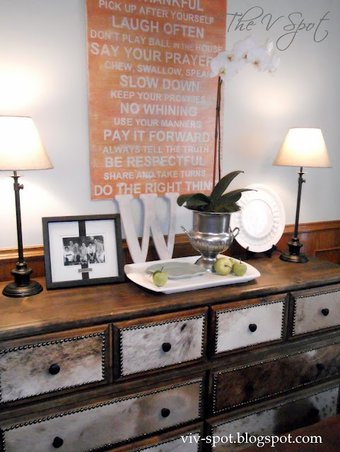 subway art, family rules, orchid, champagne bucket, lamps, monogram, dresser, cowhide