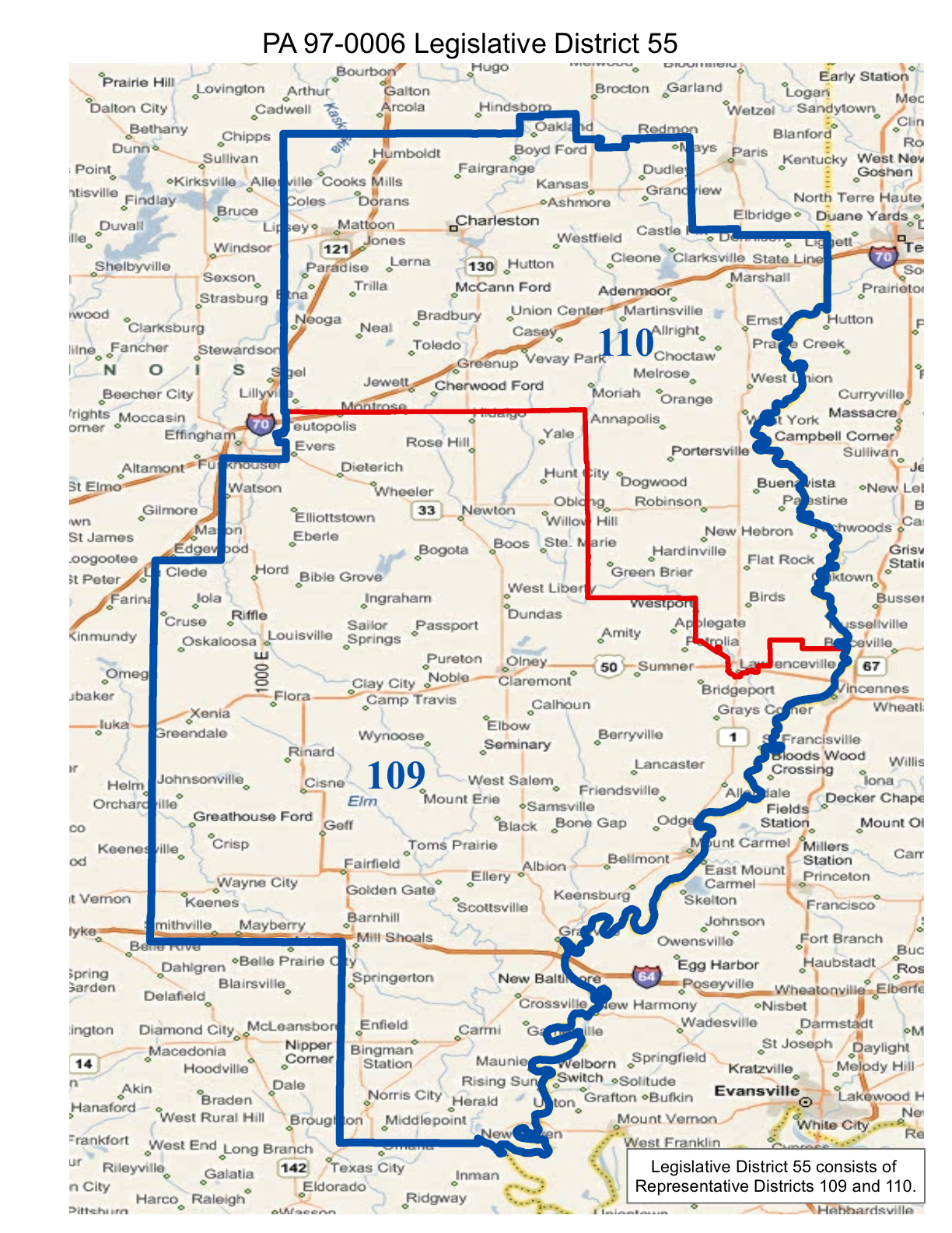 map of realigned illinois state senate district 55 and state representative districts 109 and 110