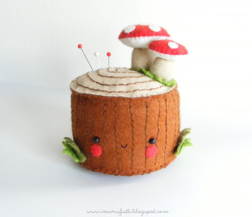 Felt Tree Stump Pincushion - i ManuFatti for Bugs and Fishes