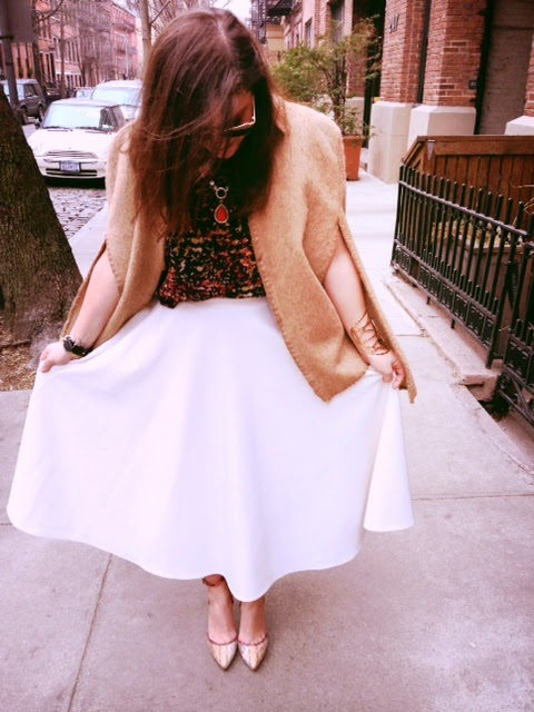 ASOS white mid length skirt, wearing midi skirt, white long skirt, camel cape, wearing vintage cape, outfit inspiration, Katharine Hepburn icon inspiration, bejeweled statement necklace, collar gemstone necklace Prima Donna jewelry necklace, scarlet rhinestone statement piece, wearing a cape and statement jewelry, classy outfit ideas, how to wear color