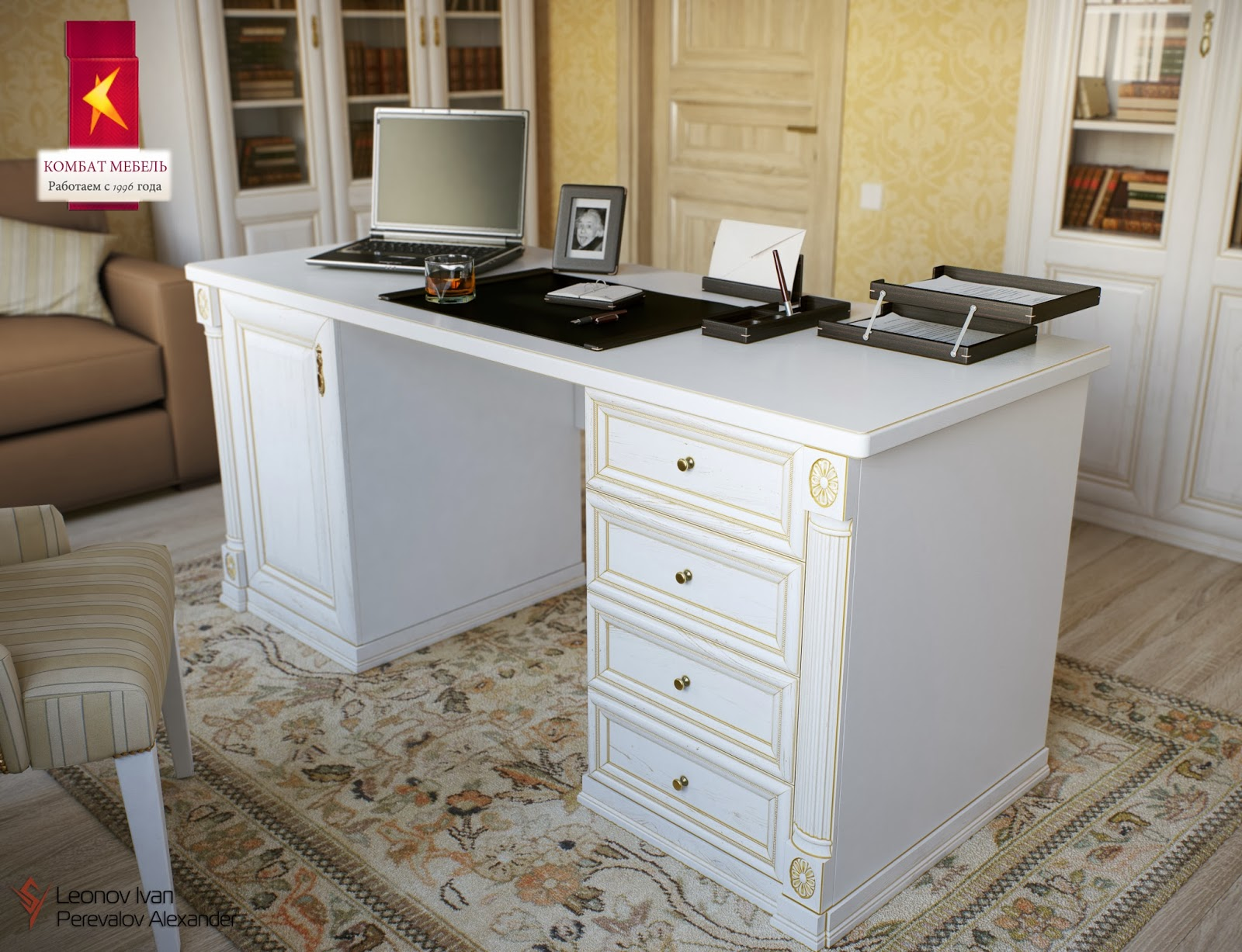 Белый письменный стол.
