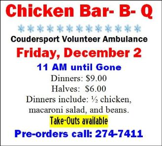 12-2 Chicken BBQ, Coudersport