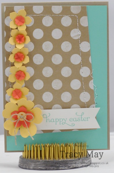 Stampin up fresh prints pansy punch, petite petals and itty bitty shapes Tracy May card making ideas