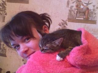 Кошка сидящая на спине