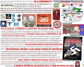 Bancos, Bandidos, Bilderberg, Cartel, Crime, Deutsche Bank, Económico, Euribor, Financeira, Internacional, Libor, Manipulação, Maçons, Máfia, NAZI, Políticos, Taxas, Taxas de Juro