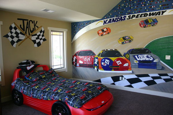 With My Race Car Bedroom Boy Decorating Idea, I Made A Collage Using A  Backdrop Poster Of An Indy Car Racing Scene On A Single Wall And Stapled ...