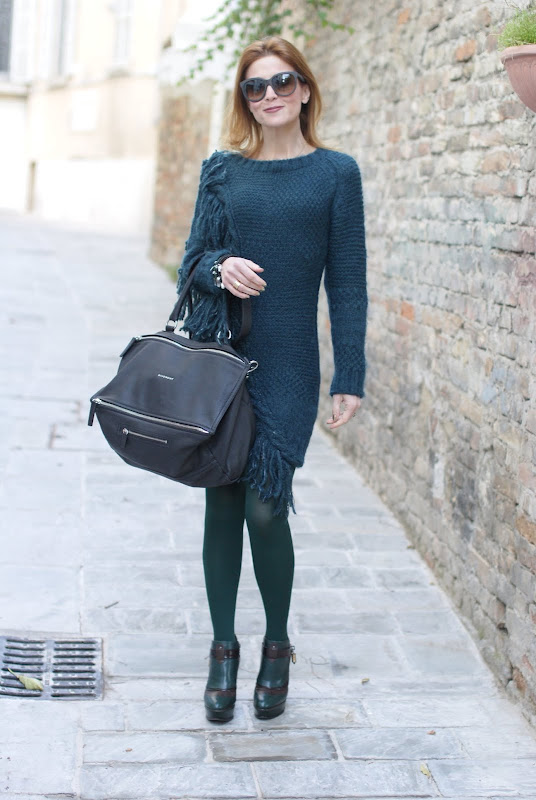 Givenchy Pandora bag, Diesel fringe detail jumper dress, Fabi shoes, Fashion and Cookies