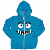 Psychobaby Monster Face Hoodie in Neon Blue
