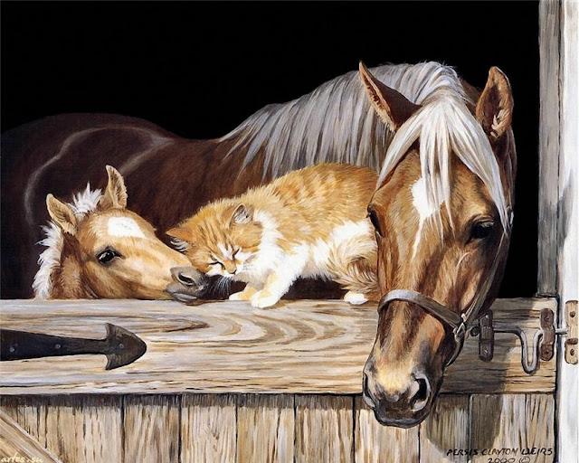 кошка ластится с лошадью