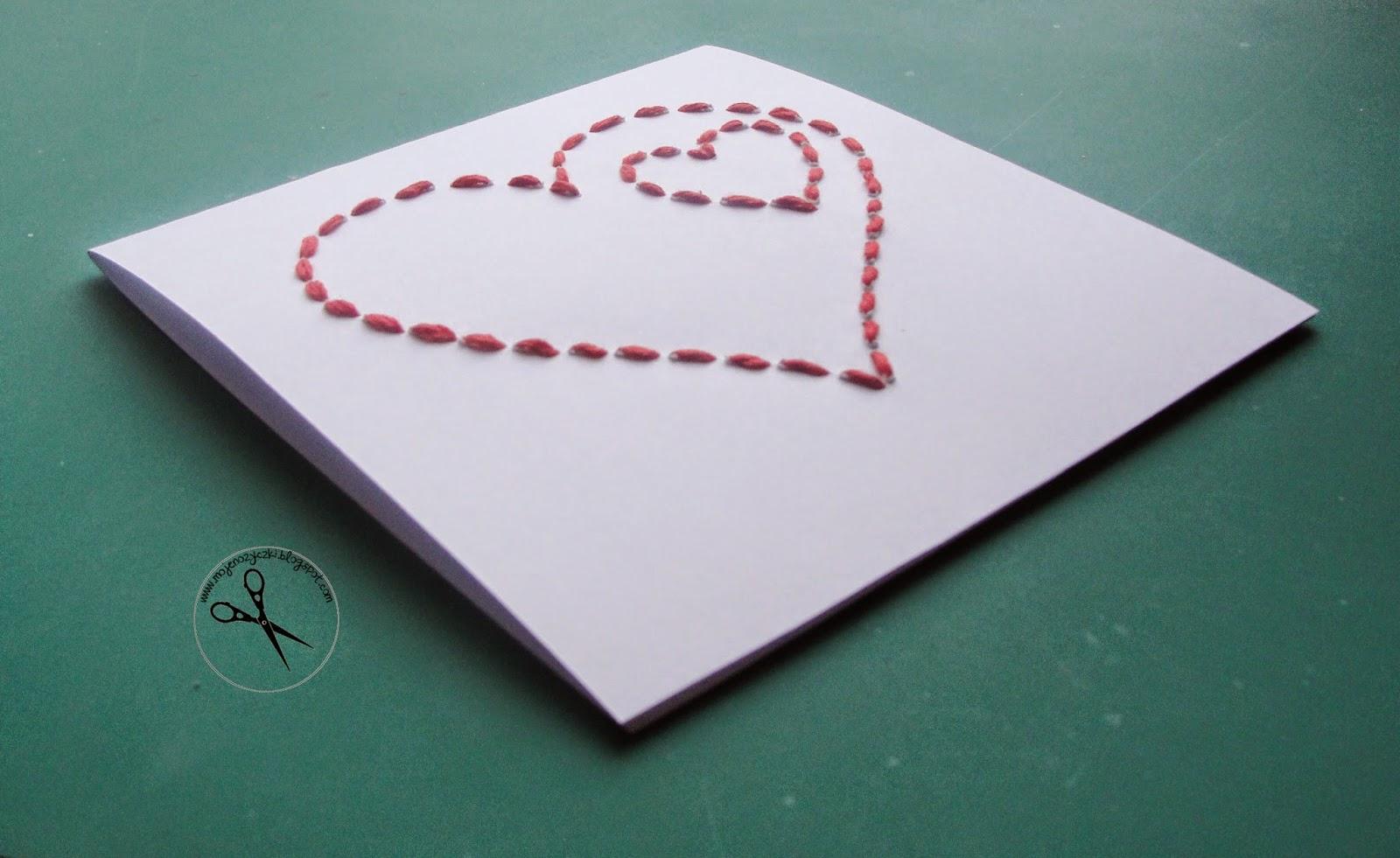 Moje nożyczki  kartka na walentynki szyta kartka na walentynki, prezent ręcznie robiony