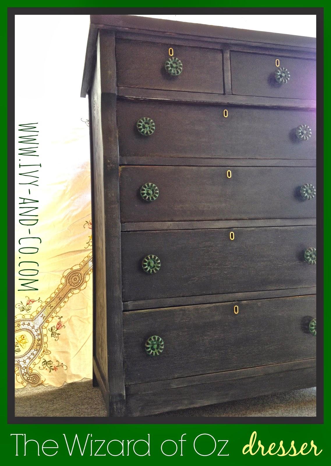 black antique dresser green hose knobs