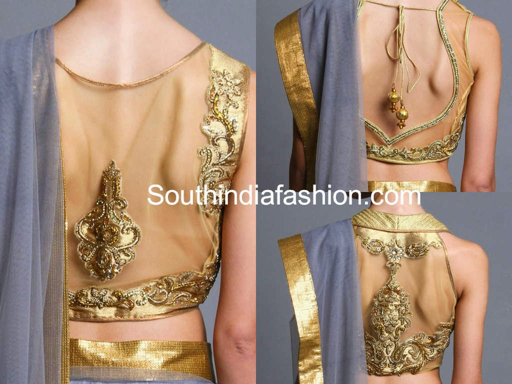 gold net saree blouse models