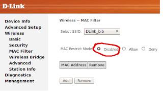 mac filter disabled