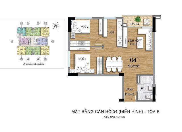 Mặt bằng căn hộ B04 tầng 4-15 dự án Valencia Garden