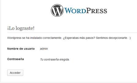 Acceder para visualizar el sitio WordPress