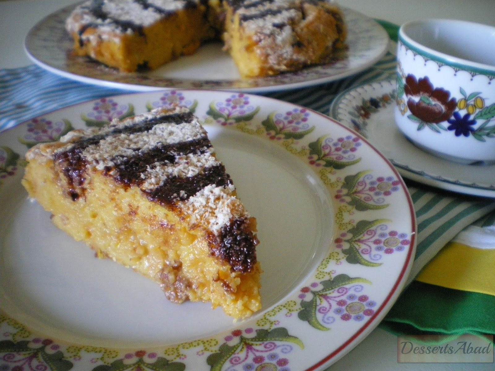 Flan pastelero al horno con pasas