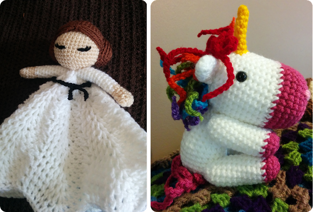 Princess Leia crochet lovey and rainbow unicorn amigurumi