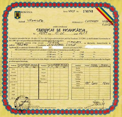 Certificatul de producător