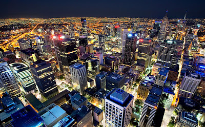 Ciudad de Melbourne, Victoria, Australia. (Vistas Nocturnas)