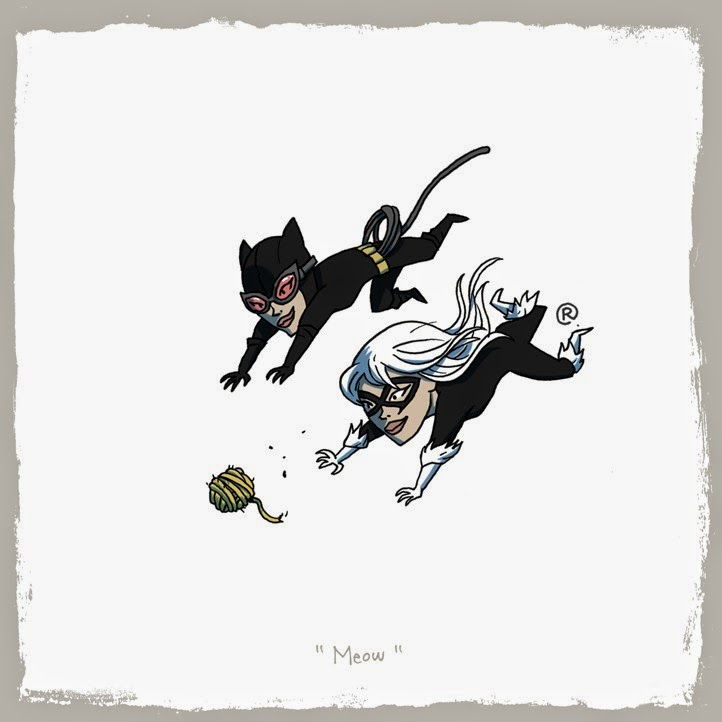 Black Cat and Cat Woman racing for a ball of yarn.