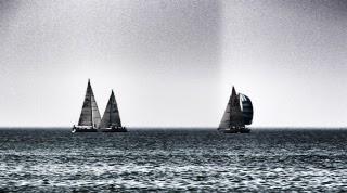 Black and white photo of sail boats at sea