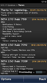 [Update] Gravity Beta 2.70 Build 7158 | Twitter Client Symbian