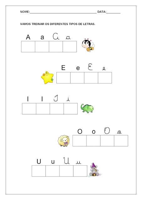 Atividades com Vogais - Letra cursiva