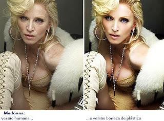 Madonna com e sem photoshop - nem se você for a Madonna vão deixar suas rugas em paz!