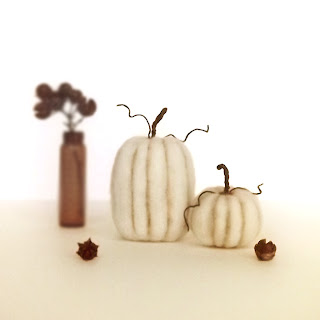 White felted wool pumpkins