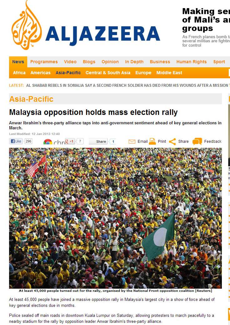 At least 45,000 people have joined a massive opposition rally in Malaysia's largest city - Al Jazeera