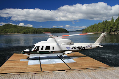 Helijet on Floating Landing Pad in Barnard Harbour
