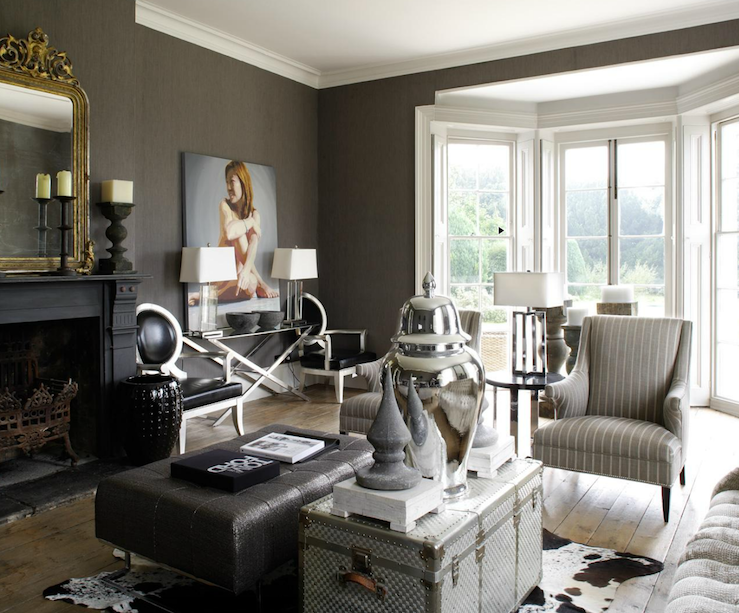 Luxe living space in taupe white and grey t a n y e s h a for Grey silver wallpaper living room