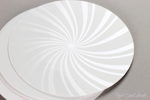 pearl foil printing in candy swirl on gloss white, diecut circle