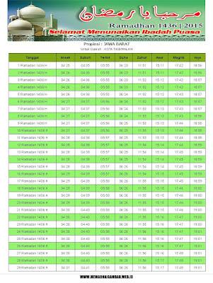 Jadwal Imsakiyah Kuningan Tahun 2015 (1436 H)