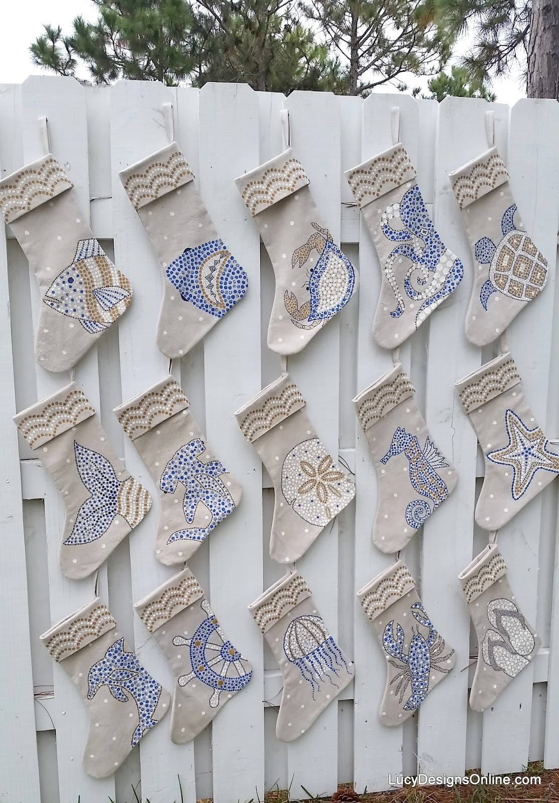 hand painted coastal stockings