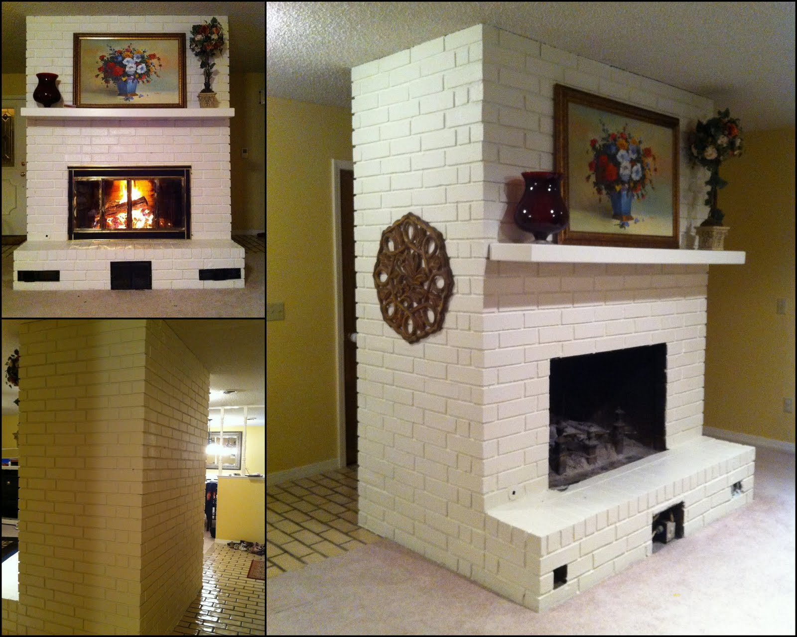 before after painted brick fireplace creative outpour. Black Bedroom Furniture Sets. Home Design Ideas