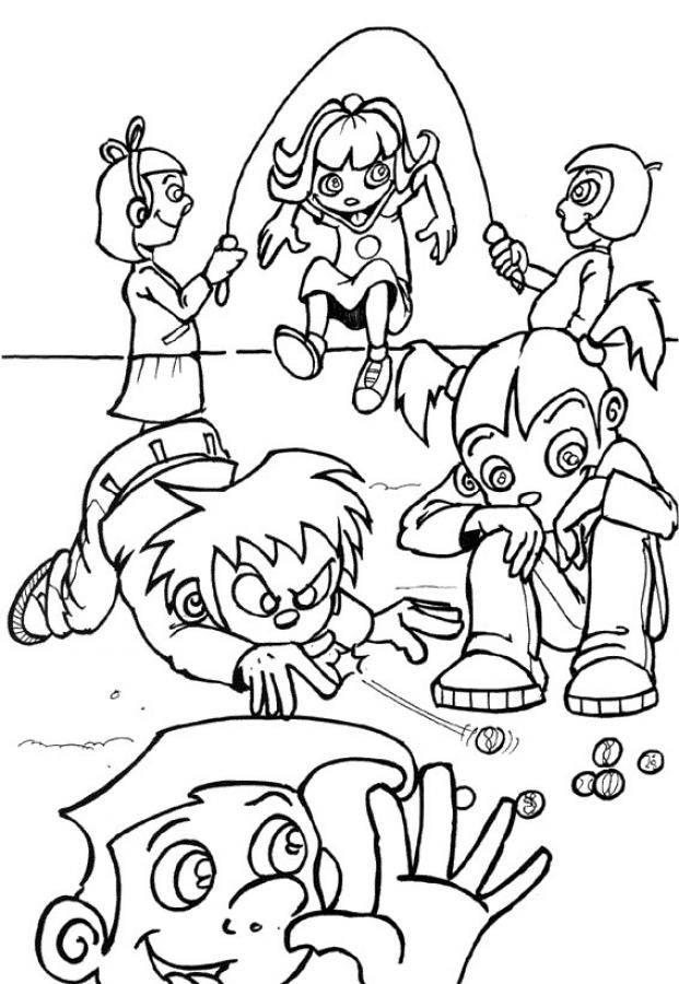 Niños y niñas jugando en el recreo. Dibujo para colorear