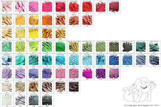 YKK Zipper Color Chart for Zipit Zippers