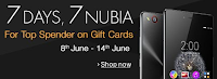 Amazon Offer : 7 Days, 7 Nubia with gift cards