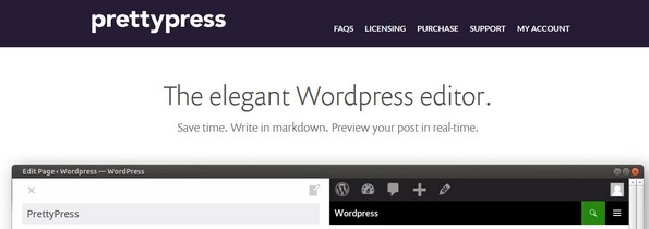 PrettyPress Markdown editor for WordPress