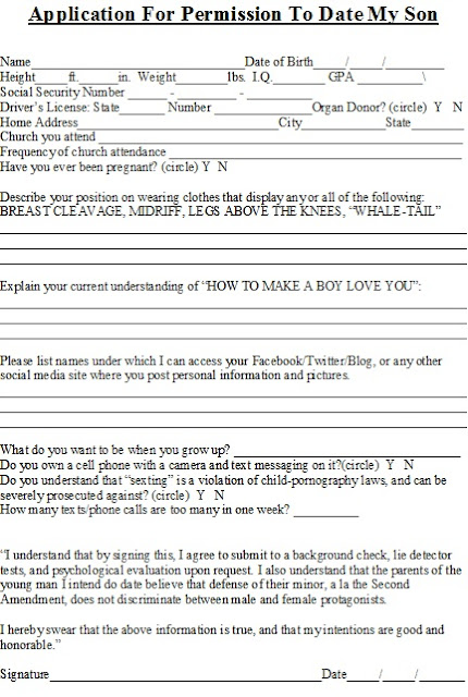 ... Date My Sister application for permission to date my son/daughter
