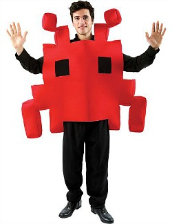 Red Space Invader Fancy Dress Costume