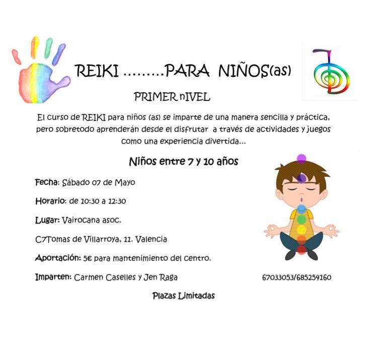 TALLER DE REIKI PARA NIÑOS (CURSO NIVEL-1º)
