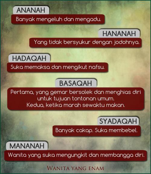Rasulullah melarang kaum lelaki mengahwini enam jenis wanita, Mananah, Syadaqah, Hadaqah, Basaqah, Hananah, Ananah, Maksud Wanita yang enam, Maksud Ananah, maksud hananah, maksud hadaqah, maksud basaqah, maksud syadaqah, maksud mananah