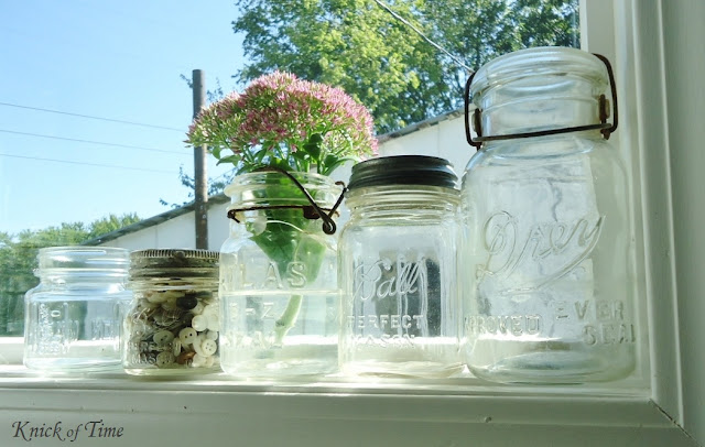 Vintage Ball Lightening Jars Farmhouse Kitchen via KnickofTimeInteriors.blogspot.com