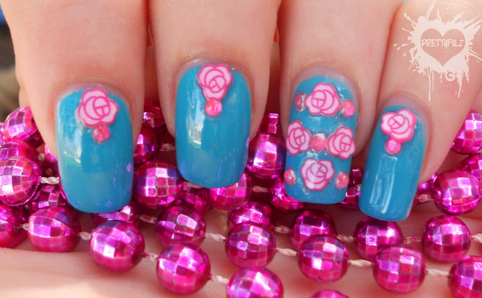 Delphinium flower tattoo http refreshrose blogspot com - Pink Flower Nail Art