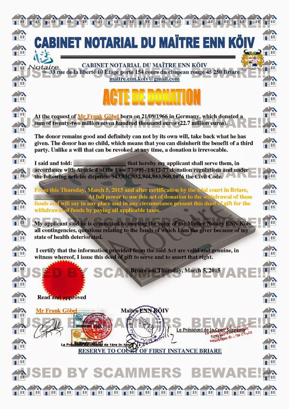 FRAUD FYI Scam Email With Fake Legal Documents From Office Of - Fake legal documents