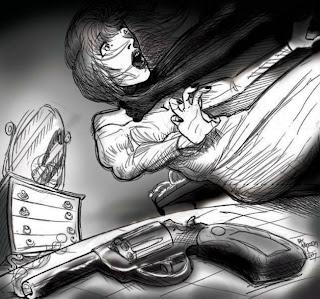 A imagem é um desenho da cena, relatada no livro, como a primeira reportagem de Eugênia Brandão. É um desenho com uma mulher caindo, como se levasse um tiro, um revólver em cima da cama e um cômoda ao fundo.
