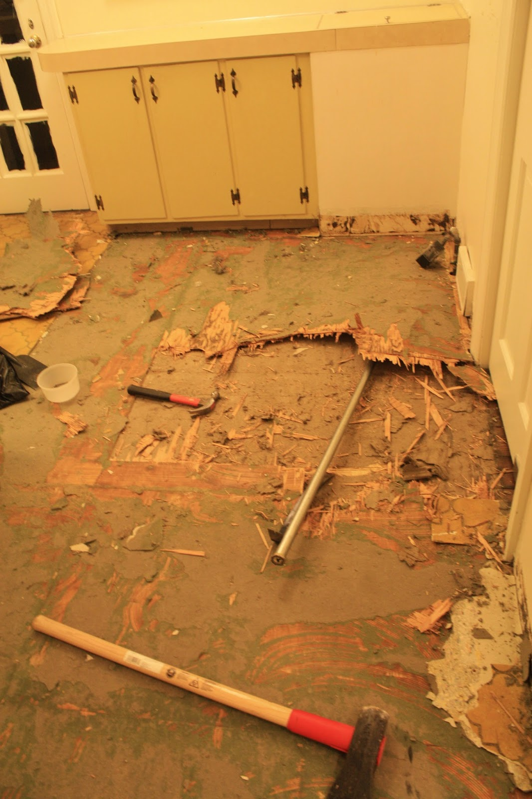 Removing Linoleum - Scraping Up Linoleum - Restoring Wood Floors - Ripping Up Linoleum - Removing Black Tar from Wood Floors